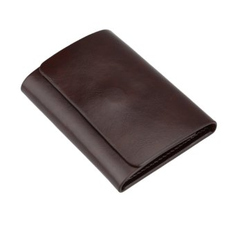 Fashion Men Money Clip Wallet Genuine Leather Short Card Holder Trifold Magnet Business Mini Wallet Coffee/Brown - Intl