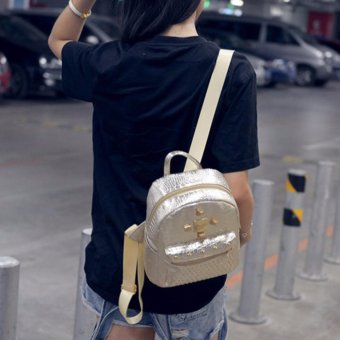 Women PU Leather Backpack Traveling bag Girl's School Bagpack Casual Bag - intl