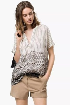Cyber Ladies Women V Neck Short Sleeve Geometric Print Casual Silk Blouse (White) - intl