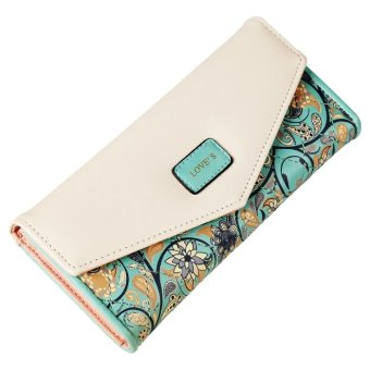 Linemart Women Fashion Synthetic Leather Foldable Purse Credit ID Card Holder Trifold Long Wallet ( Green ) - intl