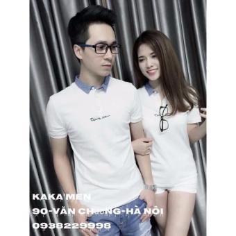 Nguyên sét áo thun nam nữ phối xanh cổ trụ LyLyFashion (trắng)