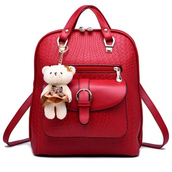 3 in 1 PU Leather Casual Outdoor Travel Tablet Bag Handbag Backpack Shoulder Bag with Bear Pendant Wine Red - intl