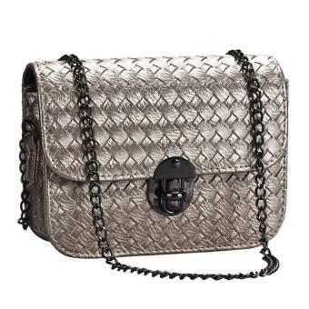 Girl Leather Mini Small Woven Pattern Shoulder Bag Handbag Messenger Gold