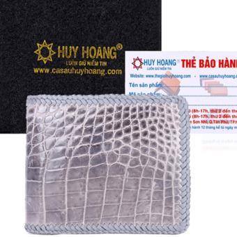 HL2714 - Bóp nam Huy Hoàng da cá sấu đan viền gai bụng màu xám