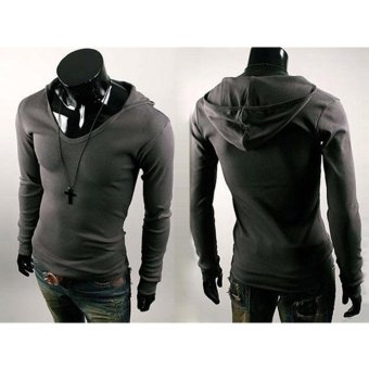 Mens Casual Slim Fit V-neck Hooded T-shirts Tops Cotton Blend LDark Grey - intl