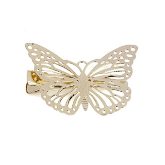 1 Pair Women Ladies Gold Butterfly Hair clip Hairpin Accessory (White) - Intl