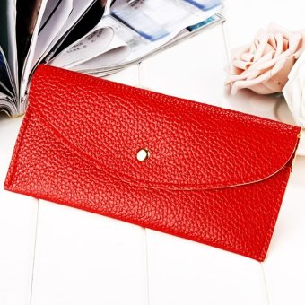 Moonar Women Candy Color Envelope Clutch Bag Thin Wallet Card Purse (Red) - intl