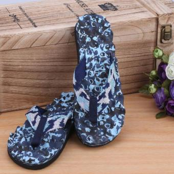 Men Summer Camouflage Flip Flops Shoes Sandals Slipper indoor & outdoor Flip-flops Blue - intl