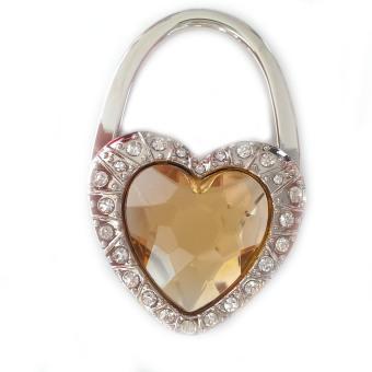 Móc treo túi xách mặt đá hình trái tim (Vàng nhạt)