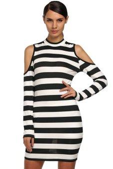 Cyber FINEJO Ladies Off Shoulder Long Sleeve Slim Bodycon Black and White Stripes Mini Dress ( Black + White ) - Intl