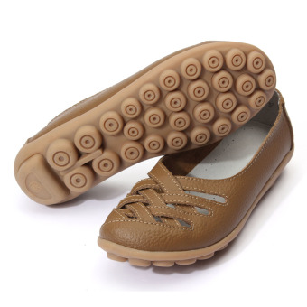 ... Women Sandals Summer Shoe Genuine Leather Hollow Out Nurses Working Cow Muscle Gladiator Flats Shoes -