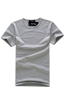 LALANG Men Round Neck T-shirts Tops Grey - Intl