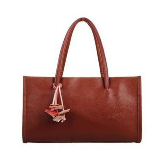 Fashion girls handbags leather shoulder bag candy color flowers tote Brown - intl