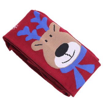 Kids Girls Cotton Christmas Elk Leg Warmers Tights Socks Stockings Pants Pantyhose Leggings Wine Red M for 100-120cm Height Girls - intl