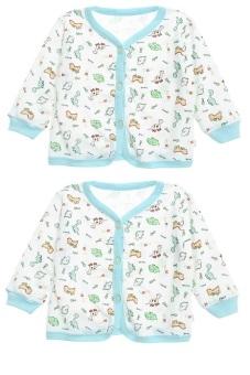 Bộ 2 áo giữ ấm tay dài bông Nanio A0089-2Xd (Xanh Đậm)