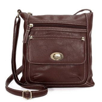 NEW Women Leather Handbag Purse Tote Satchel Messenger Crossbody Shoulder Bag Coffee - intl