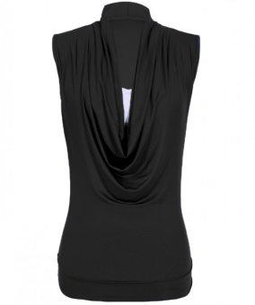 Sunweb Stylish Lady Women's Fashion Casual Sleeveless Slim Solid Top Blouse Shirt ( Black ) - intl