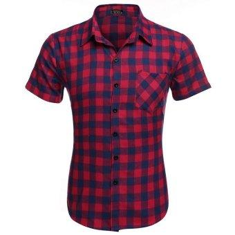 Cyber COOFANDY Men's Short Sleeve Turndown Neck Plaid Shirt (Red) - Intl