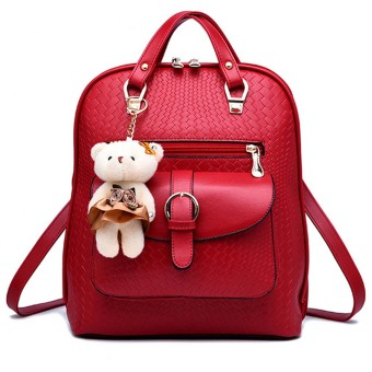 Women Ladies 3 in 1 PU Leather Casual Outdoor Travel Tablet Bag Handbag Backpack Shoulder Bag with Bear Pendant Wine Red