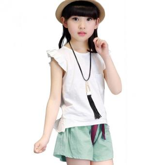 Fashion Girls Two-Piece Suit Summer New Children's Clothing Short-Sleeved Cotton (White) (Intl)--TC - intl