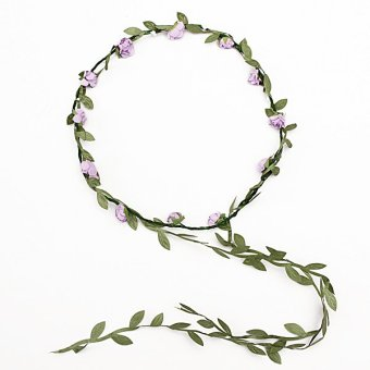 New Boho Style Festival Wedding Flower Floral Headband Garland Hair Head Band Purple - intl