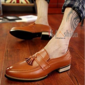 Giày Lười Nam Hàn Quốc Có Chuông Da Màu Nâu Bò Mã Sản Phẩm HQ30