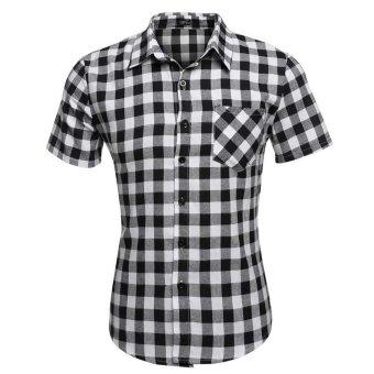 Cyber COOFANDY Men's Short Sleeve Turndown Neck Plaid Shirt (White) - Intl