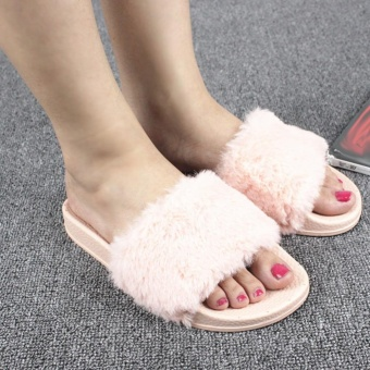 Moonar New Women Fashion Platforms Heel Slip-on Plush Slippers Leisure Shoes (Pink) - intl