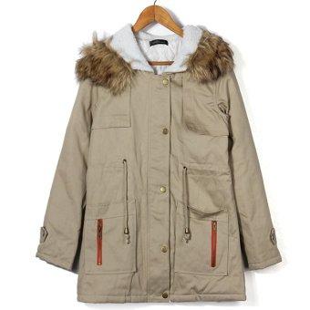 ZANZEA Fleece Faux Fur Coat Parka Hooded Trench Outwear Womens Winter Warm Thick Jacket (Intl)