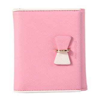 HKS Matte PU Girls Bowknot Folded Short Purse 8 Cards Slot Wallet (Pink) - intl