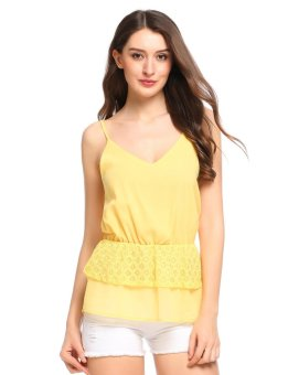 Cyber Women Casual V-Neck Sleeveless Lace Patchwork Chiffon Double Layers Hem Cami Top ( Yellow ) - intl
