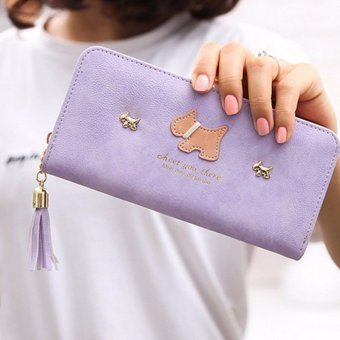 Women Girl Purse Clutch Change Coin Card Bag Handbag Long Tassel Dull Dog Wallet Purple - Intl