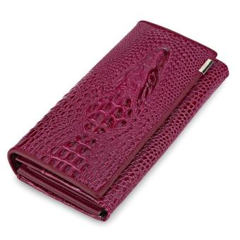 Crocodile Leather Cover Snap Fastener Men Clutch Wallet - intl