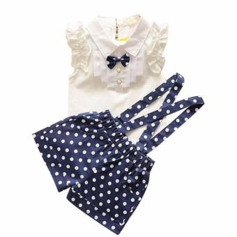 Kids Girls Bow Shirt Top Floral Polka Dot Strap Shorts Set Clothing Blue - intl