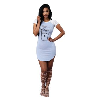 O-Neck Short Sleeves Bodycon Casual Party Clubwear Short Dresses(Blue) - Intl