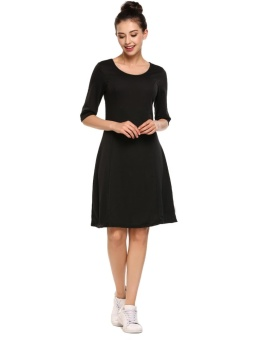Cyber Women Round Neck Half Sleeve Solid Back Cut-out A-Line Short Dress ( Black ) - intl