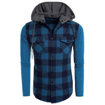 Linemart COOFANDY Men Fashion Hooded Long Sleeve Plaid Patchwork Button Down Casual Shirts ( Blue ) - intl