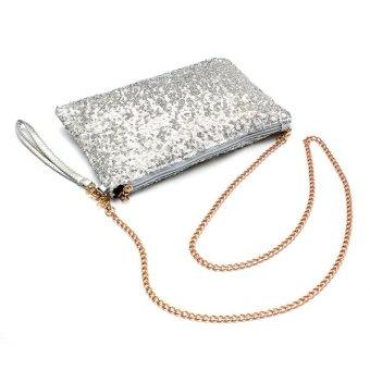 Fashion Women Glitter Sparkling Sequin Chain Strap Evening Clutch Handbag Purse Silver - intl