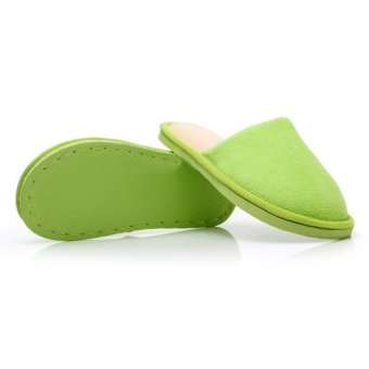 New Women Men Anti-Slip Flat Shoes Soft Winter Warm Cotton House Indoor Slippers Green - Intl