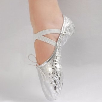 Women Girls Leather Sequins Pointed Dance Shoes Gymnastics Ballet Gold 16 Sizes - intl