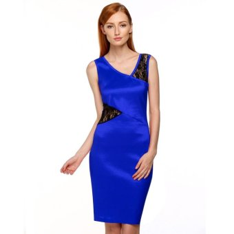 Sunweb FINEJO Women Ladies Sexy Sleeveless Lace Patchwork Hollow Out Dress ( Blue ) - intl