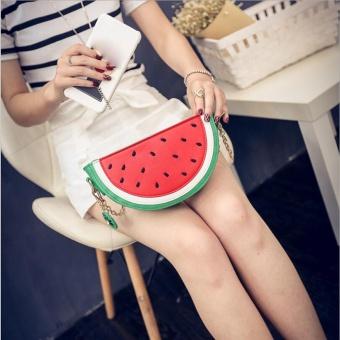 Sweet Summer Bag Women Cute Fruit Packet Chain Shoulder Orange Watermelon Bag GN - intl