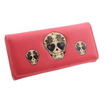 Women Creative Rivet Skull Pattern Wallet (Red)
