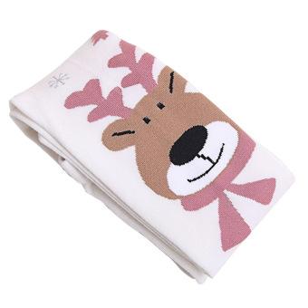 Kids Girls Cotton Christmas Elk Leg Warmers Tights Socks Stockings Pants Pantyhose Leggings White S for 80-100cm Height Girls - intl