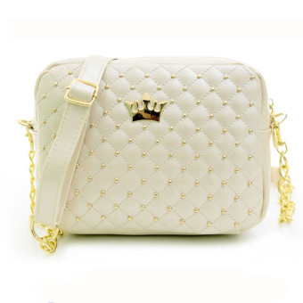 Women Messenger Bags Rivet Chain Shoulder Bag Leather Crossbody Beige