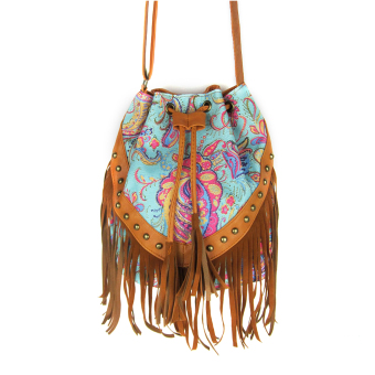 Canvas Fringe Tassel Bag Flower Printed Shoulder Bag Drawstring Bucket Bag Casual Crossbody Bag