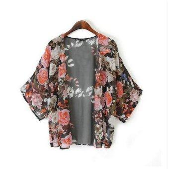 Ladies Boho Floral Loose Shawl Kimono Chiffon Coats - intl