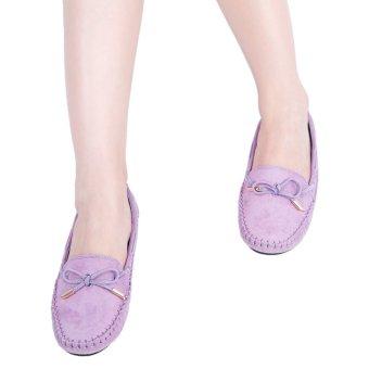 Handwork Bowknot Design Round Toe Flat Shoes(Light purple) - intl