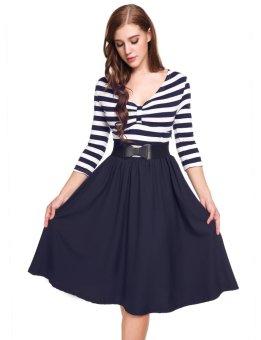 Cyber New Women Vintage Styles V-Neck Three Quarter Sleeve Striped Patchwork A-Line Pleated Hem Dress ( Navy Blue ) - intl