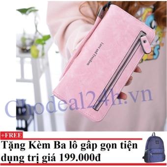 Ví cầm tay nữ nhiều ngăn CDV01 (hồng) +Tặng kèm balo du lịch gấp gọn